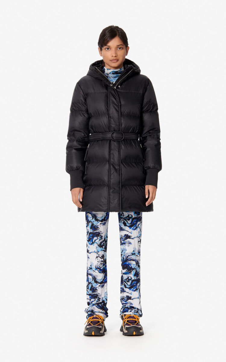 BLACK Long quilted puffer jacket for women KENZO