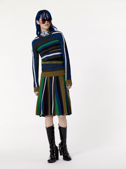 NAVY BLUE Rib-knit color block skirt  for women KENZO