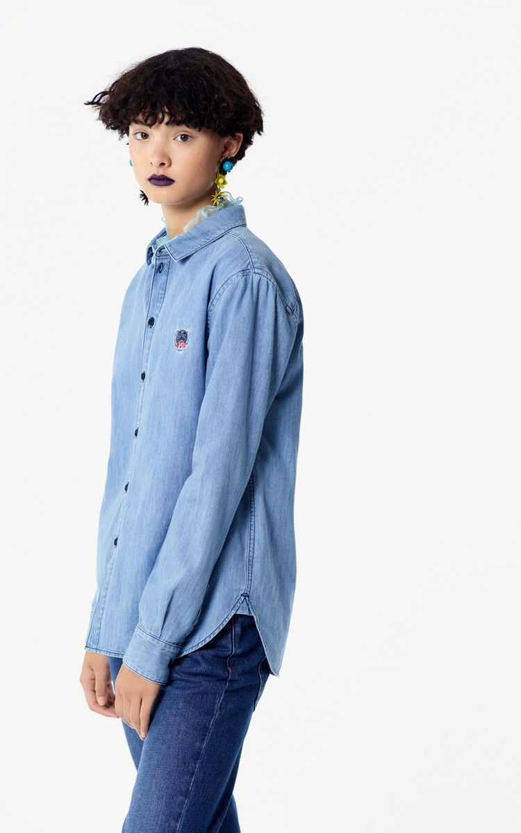 NAVY BLUE Tiger denim Shirt for women KENZO