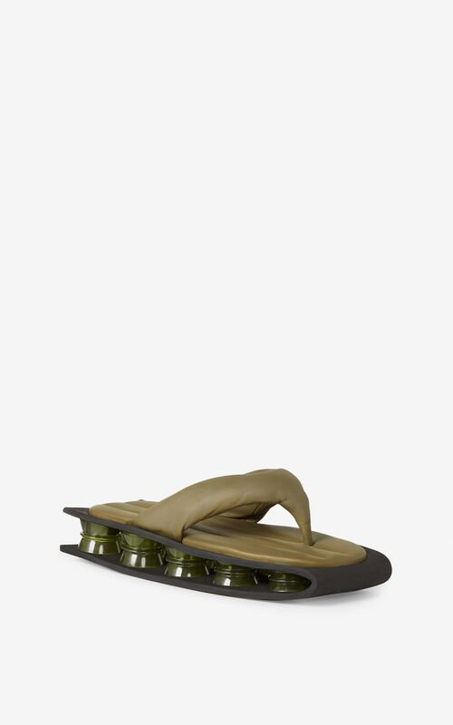 PALE KHAKI Kenzori quilted leather sandals for women