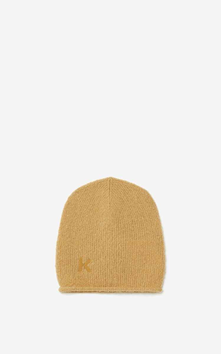BEIGE K Logo wool and cashmere beanie for unisex KENZO
