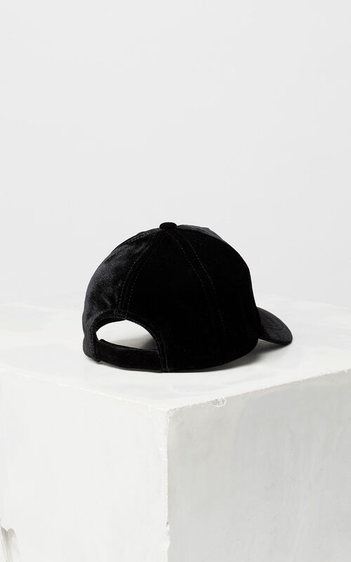 BLACK 'Cosmic' velvet cap for women KENZO