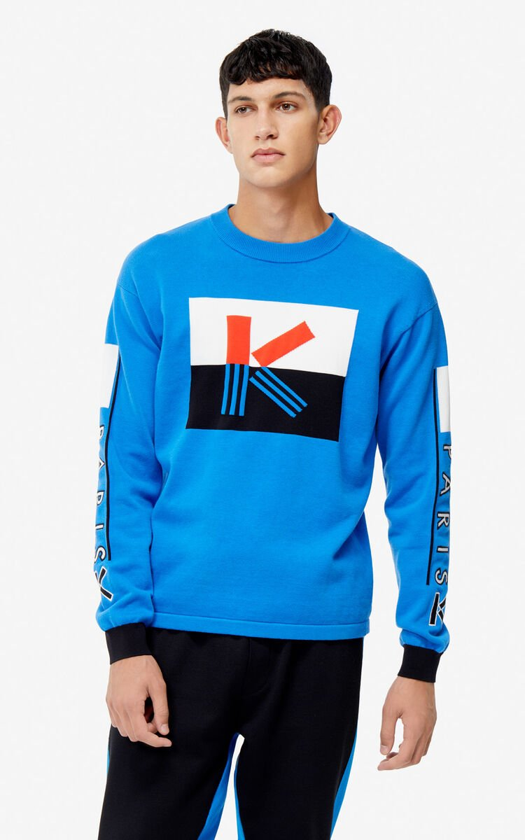 FRENCH BLUE K colorblock jumper for men KENZO