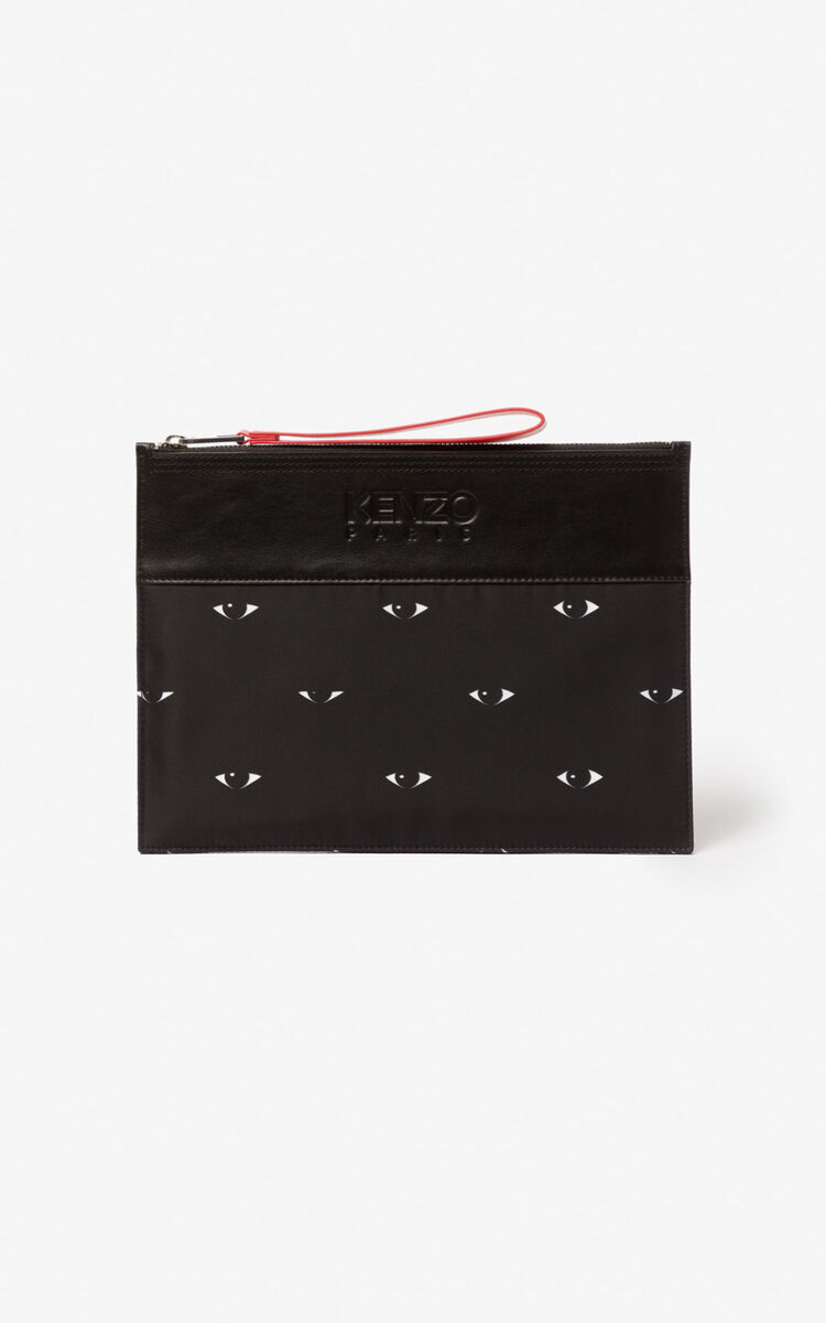BLACK Multi Eye A4 clutch for unisex KENZO