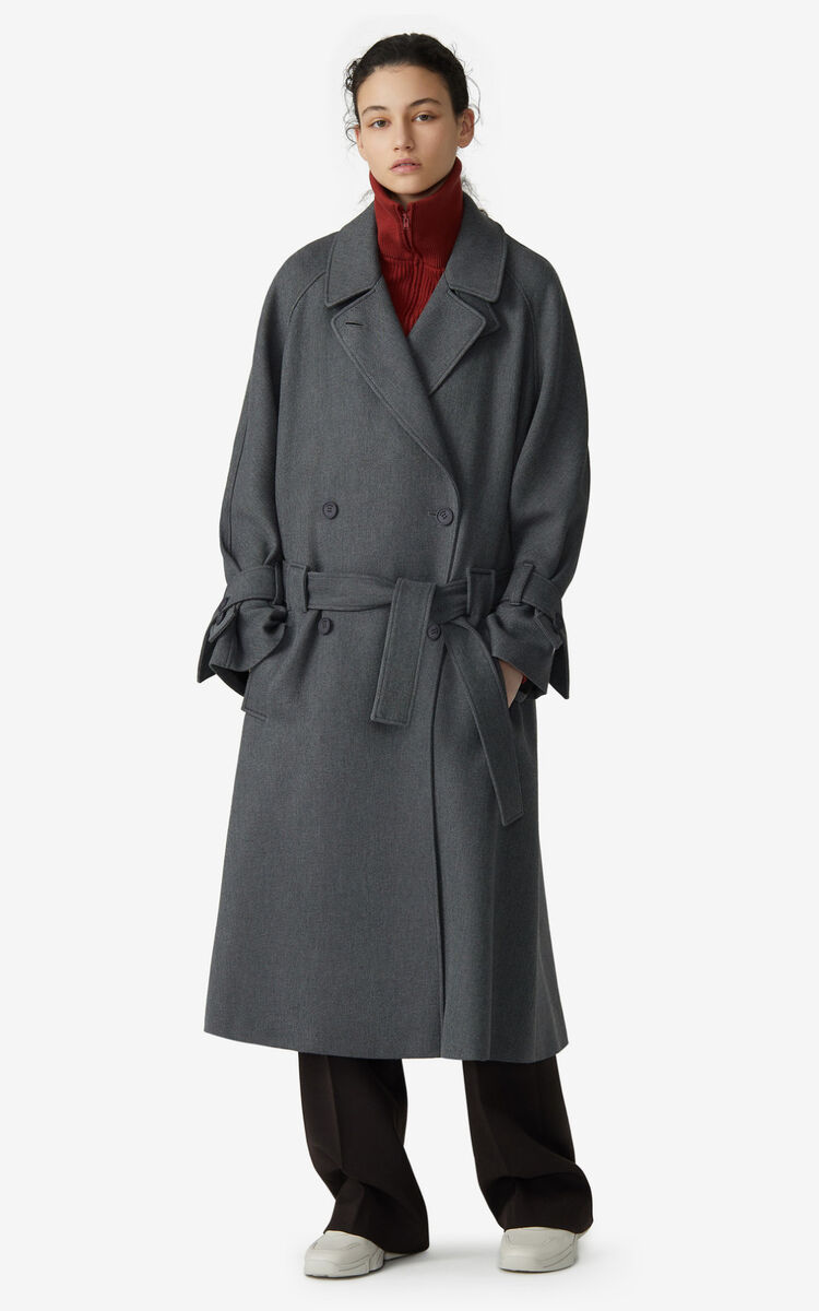 STONE GREY Belted coat for women KENZO