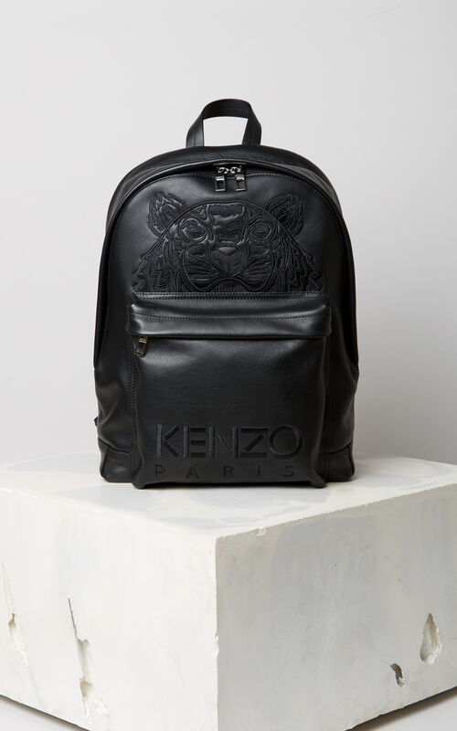 BLACK Tiger backpack in leather for unisex KENZO
