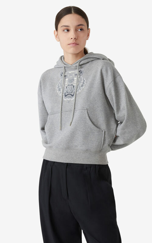 PEARL GREY Tiger Flock boxy hooded sweatshirt for women KENZO