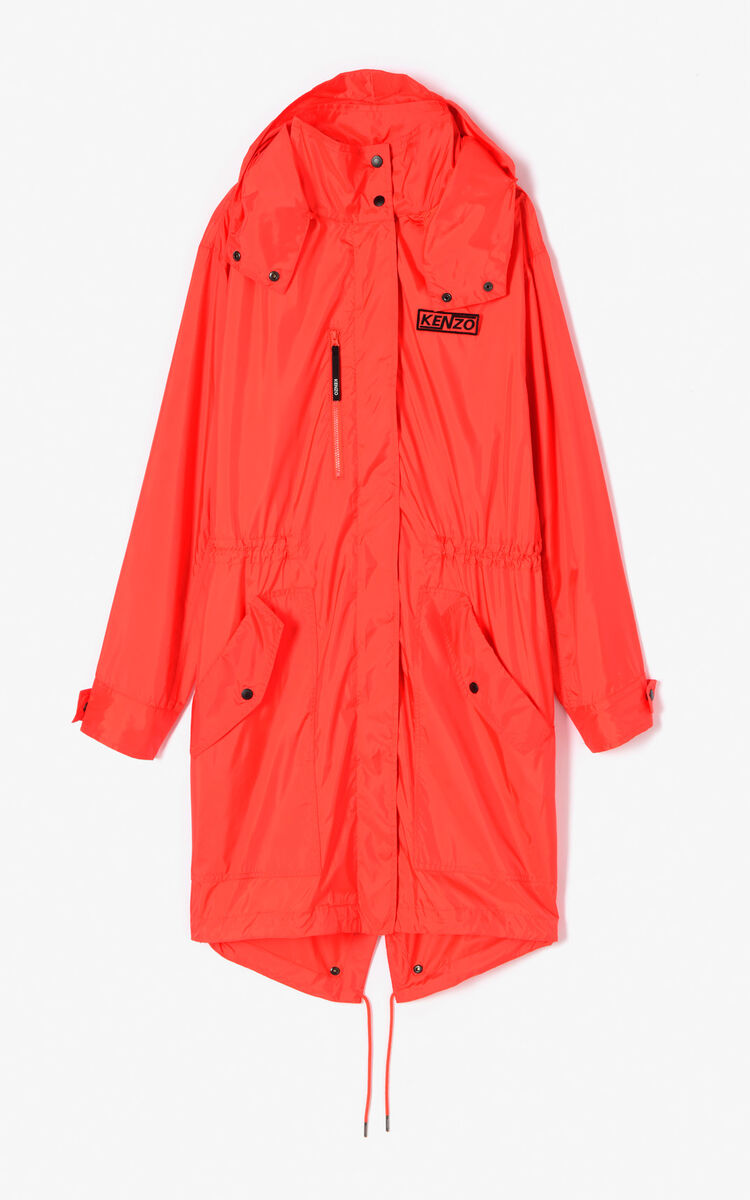 MEDIUM RED 'Hyper KENZO' waterproof lightweight parka with hood for women