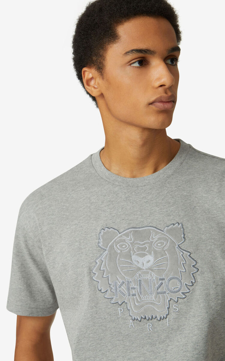PEARL GREY Tiger loose-fitting T-shirt for men KENZO