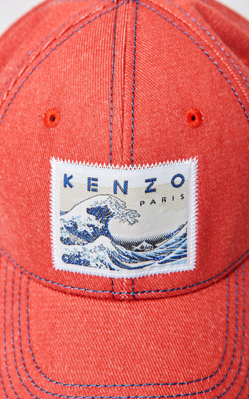 MEDIUM RED Denim 'Kanagawa Wave' baseball cap for men KENZO