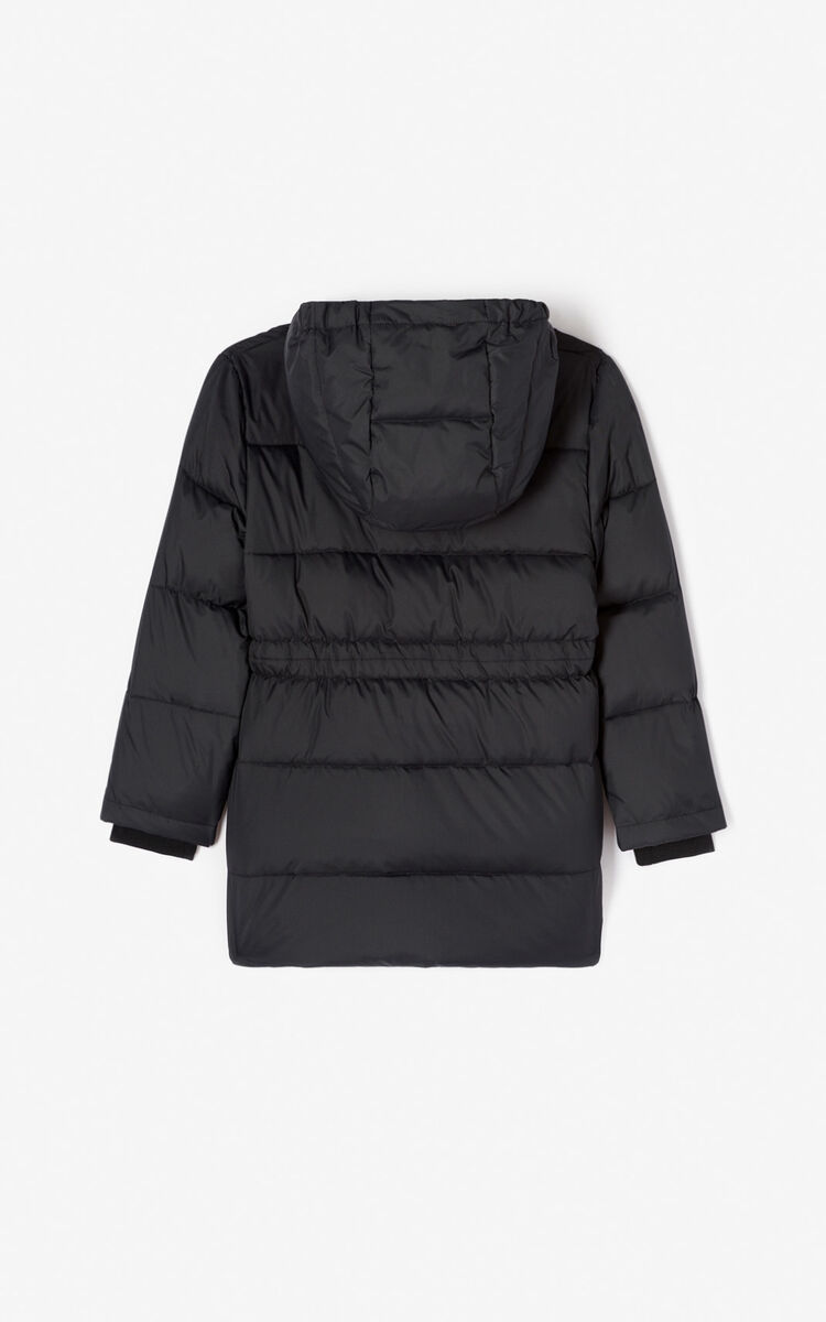 BLACK Long down jacket for women KENZO