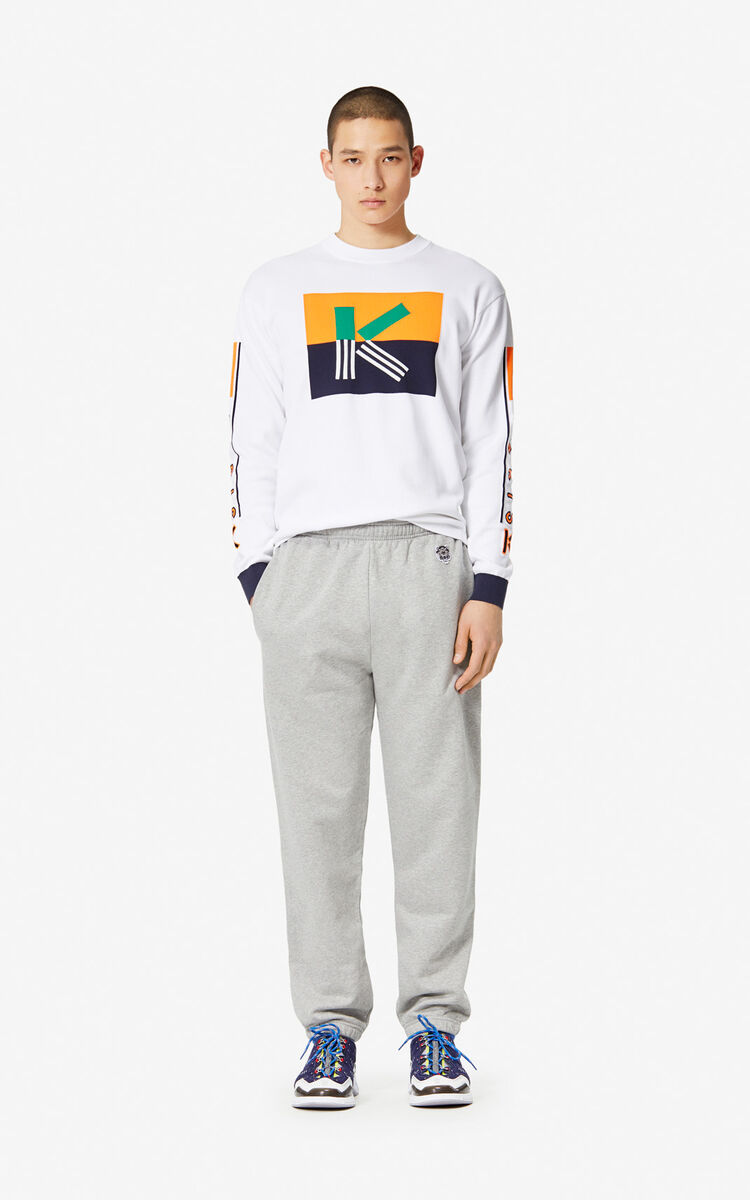 PEARL GREY Tiger jogging trousers for men KENZO