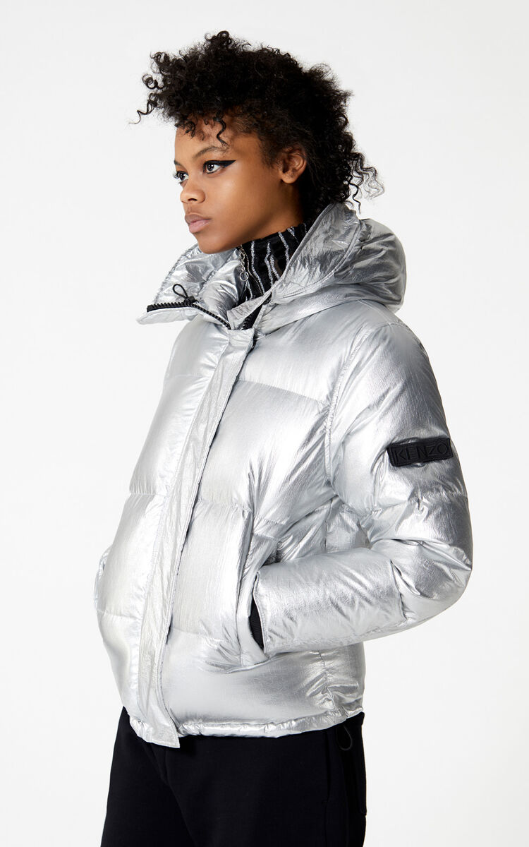 SILVER Hooded quilted down jacket for women KENZO