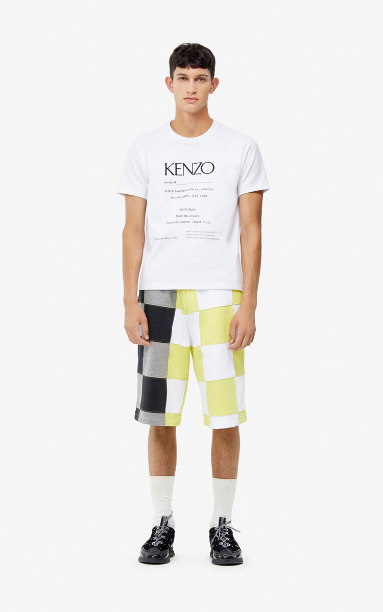 WHITE 'Invitation' textured T-shirt for men KENZO