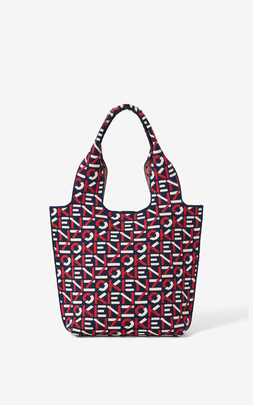 MEDIUM RED Skuba small monogram tote bag for unisex KENZO