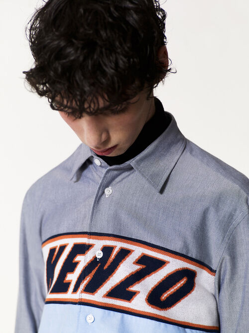LIGHT BLUE KENZO knit insert shirt for men