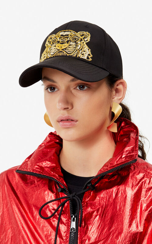 BLACK Canvas Tiger cap 'Exclusive Capsule' for women KENZO