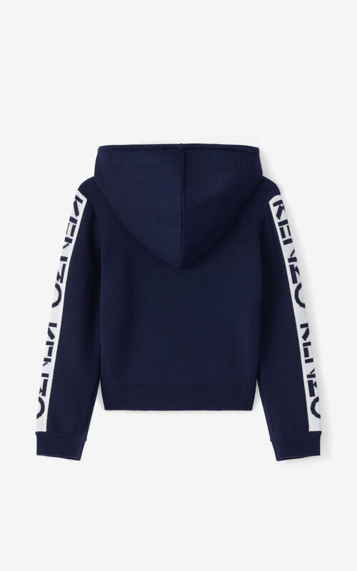 NAVY BLUE KENZO Sport hooded zip-up gilet for unisex