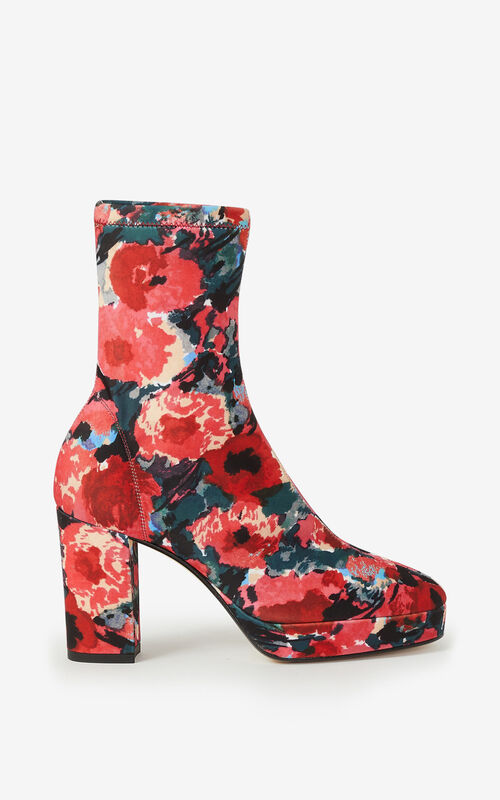 MEDIUM ORANGE KENZO GLOVE 'Watercolours' platform ankle boots for unisex