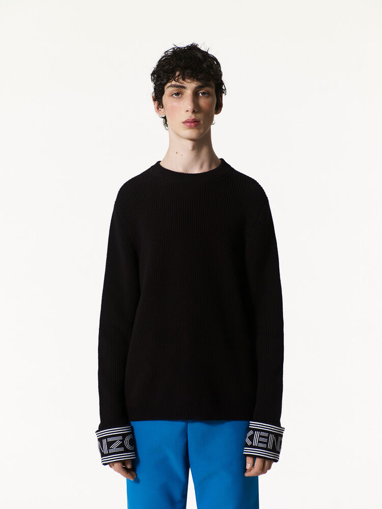 BLACK KENZO Ribbed Sweater for women