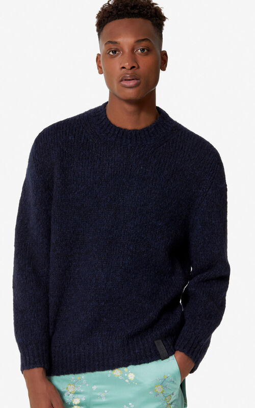 NAVY BLUE Wool and mohair jumper for men KENZO