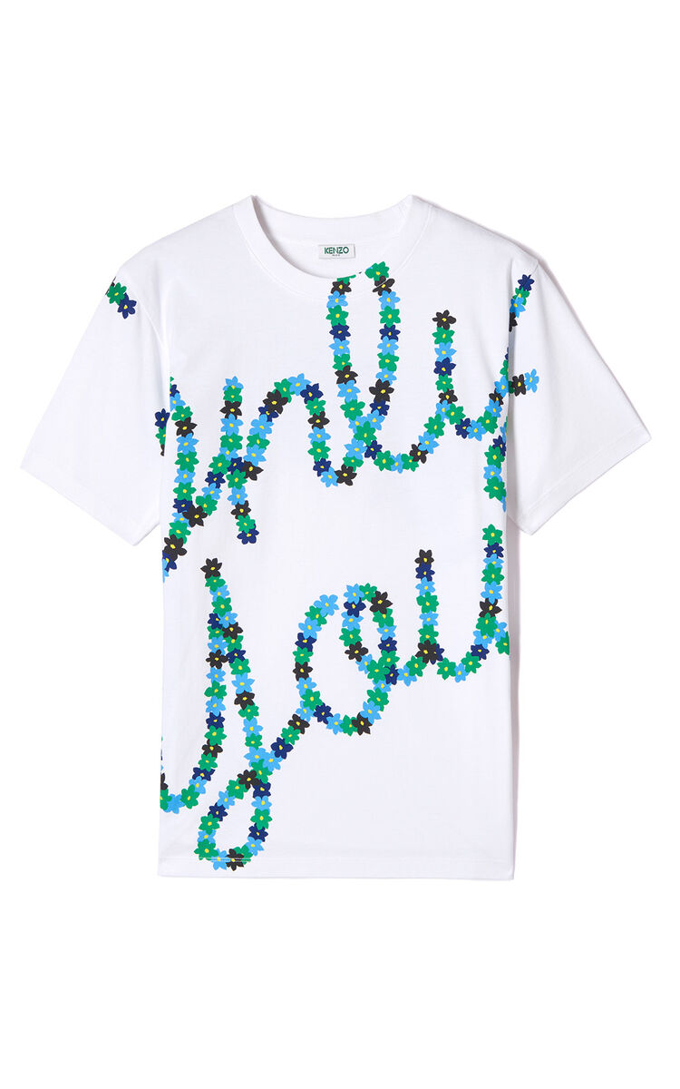 WHITE Only You t-shirt for men KENZO