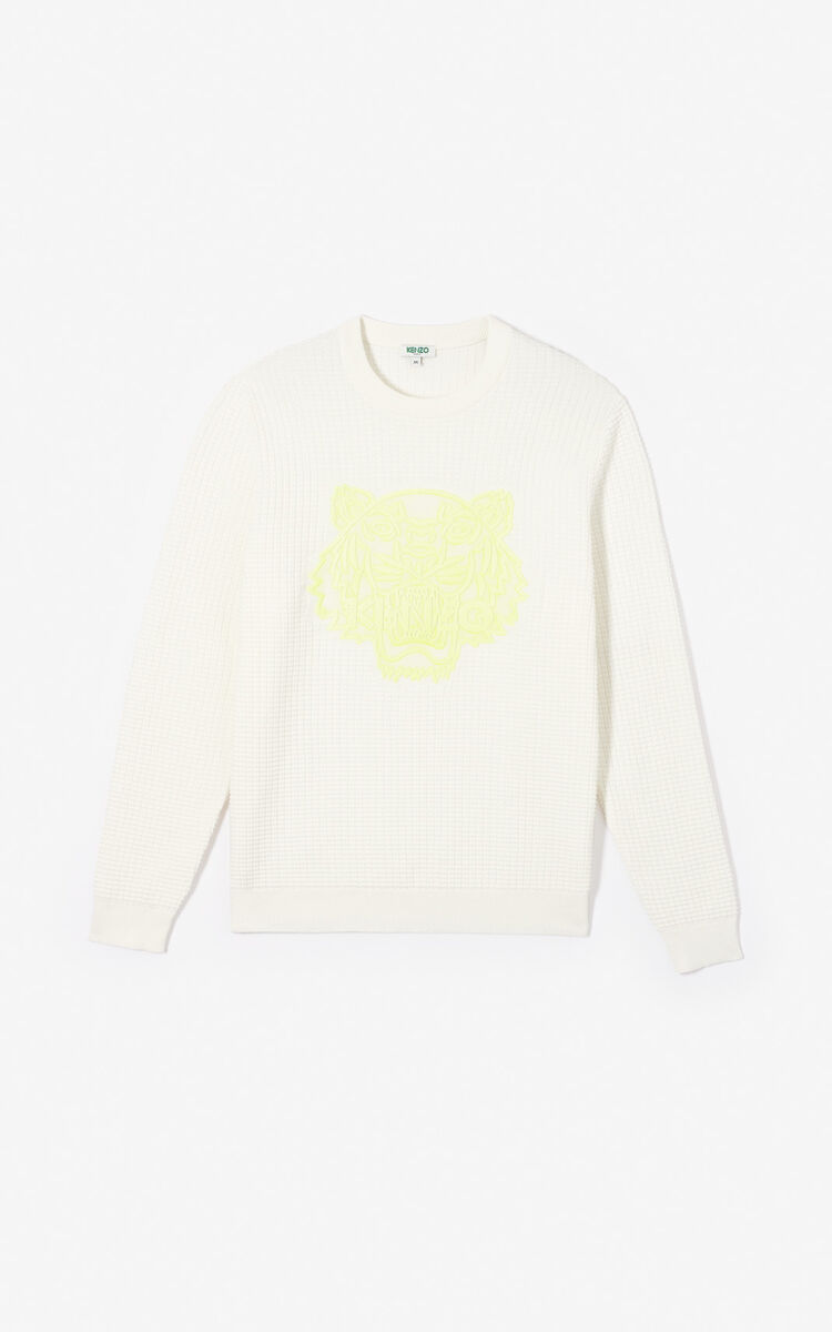 WHITE Waffled-effect Tiger jumper for women KENZO