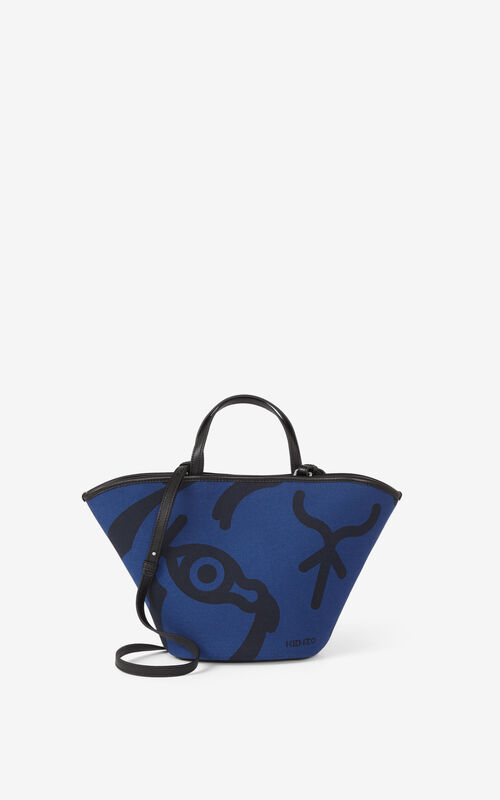 BLUE Small KENZO Arc canvas tote bag for women