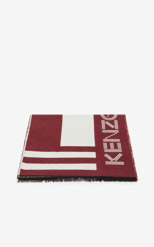 BORDEAUX KENZO Logo wool scarf  for women