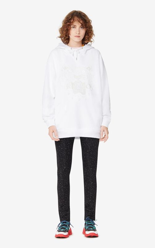 WHITE Tiger hooded sweatshirt for women KENZO