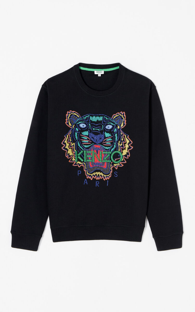 BLACK 'Holiday Capsule Collection' embroidered Tiger sweatshirt for men KENZO