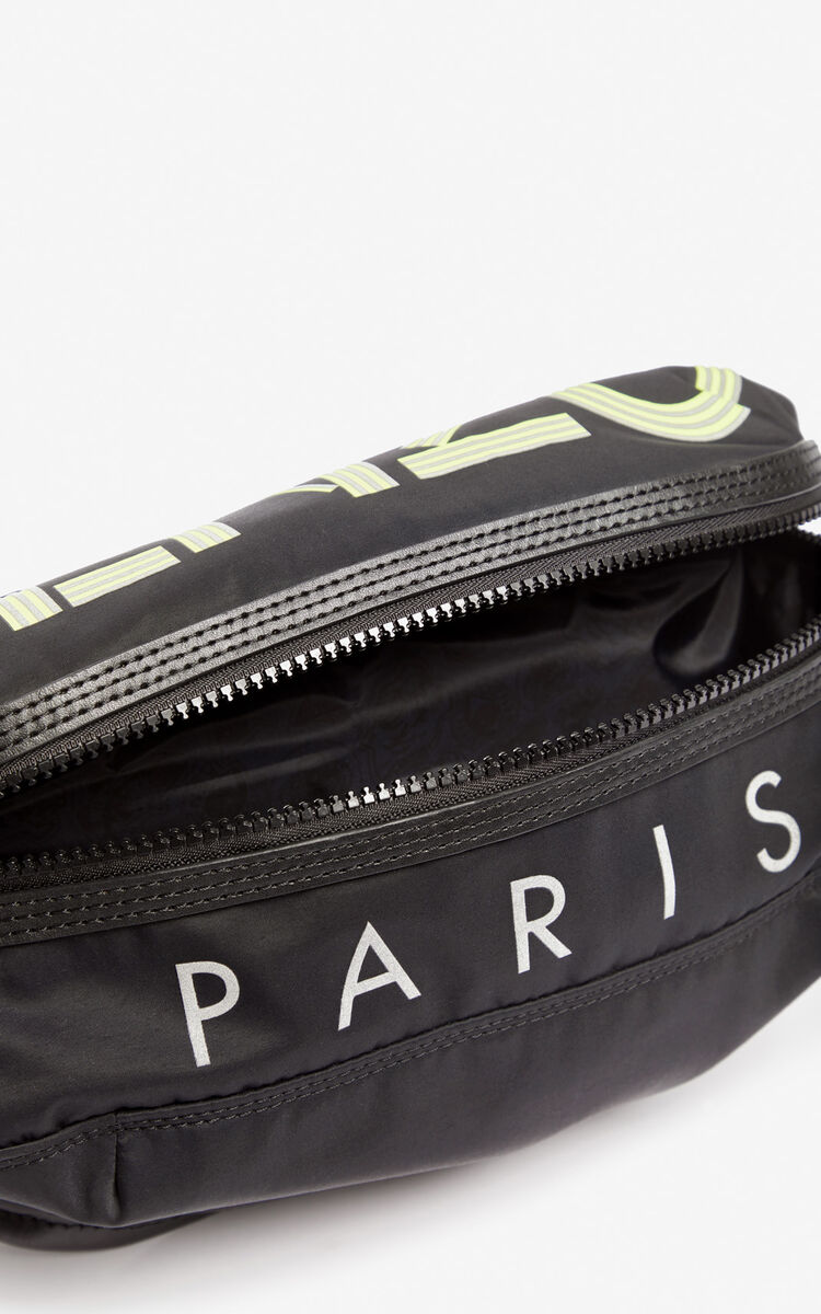 BLACK Neon KENZO logo belt bag for unisex