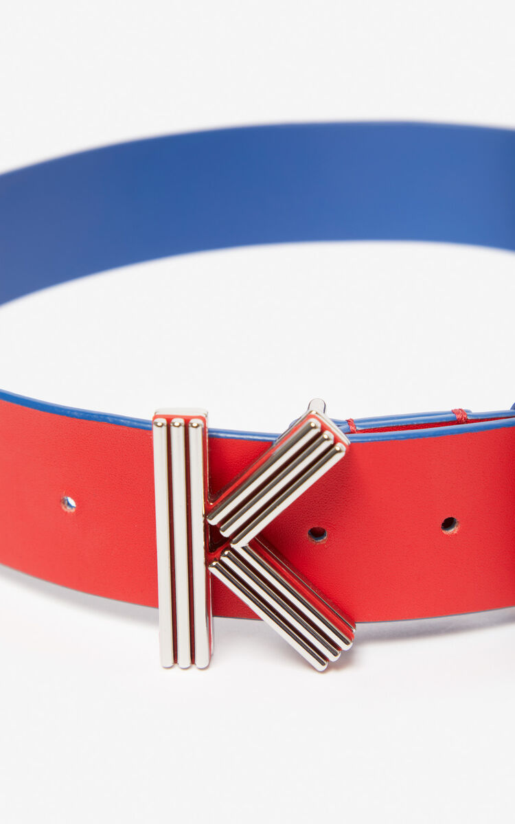 MEDIUM RED Wide two-tone K-Bag belt for unisex KENZO