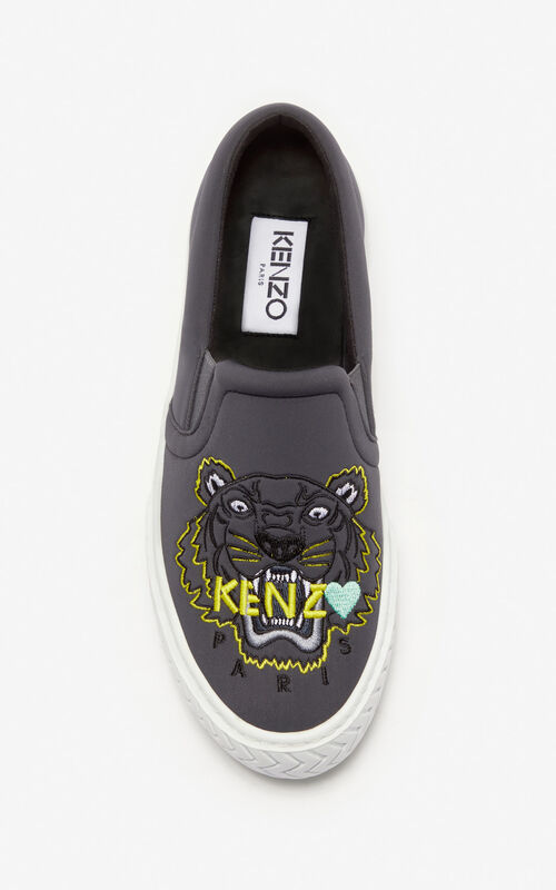 ANTHRACITE Tiger K-Skate slip-on shoes 'Capsule Back from Holidays' for unisex KENZO