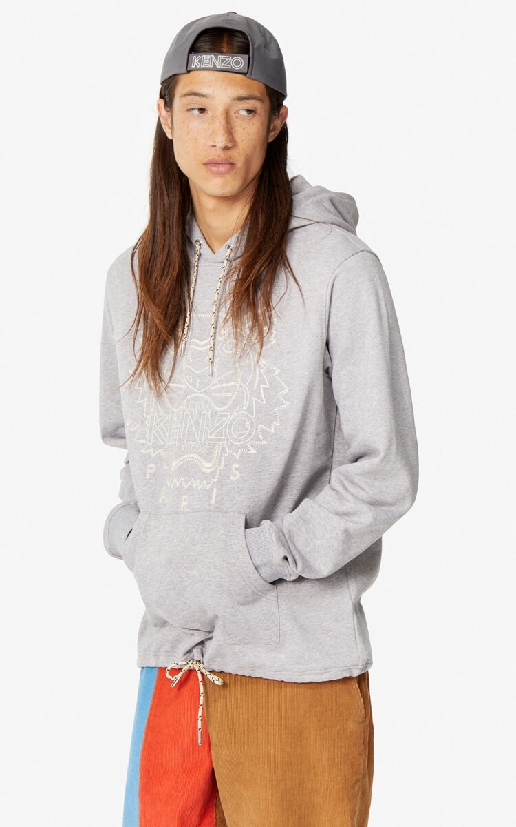 PEARL GREY 'Capsule Expedition' Tiger hoodie sweatshirt for men KENZO