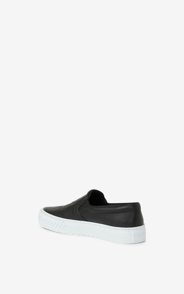 BLACK Leather K-Skate Tiger sneakers without laces for unisex KENZO