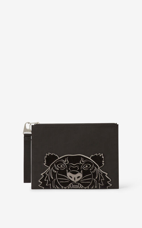 BLACK Kampus Tiger large canvas clutch for unisex KENZO