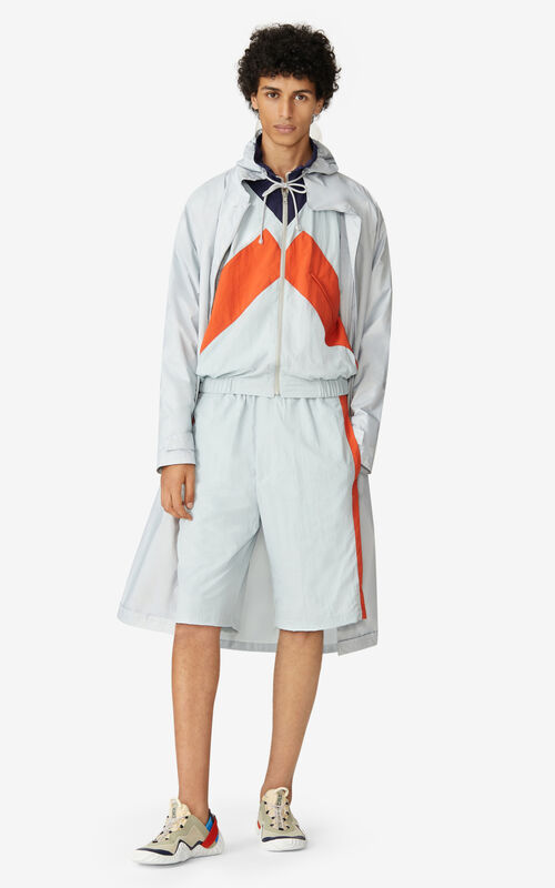 PALE GREY KENZO Sport long raincoat for men
