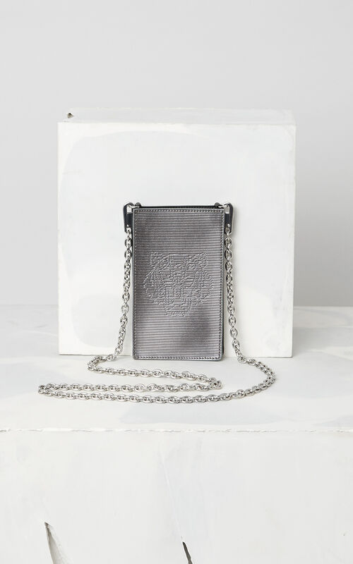 DARK GREY Large Phone Holder on Chain for unisex KENZO