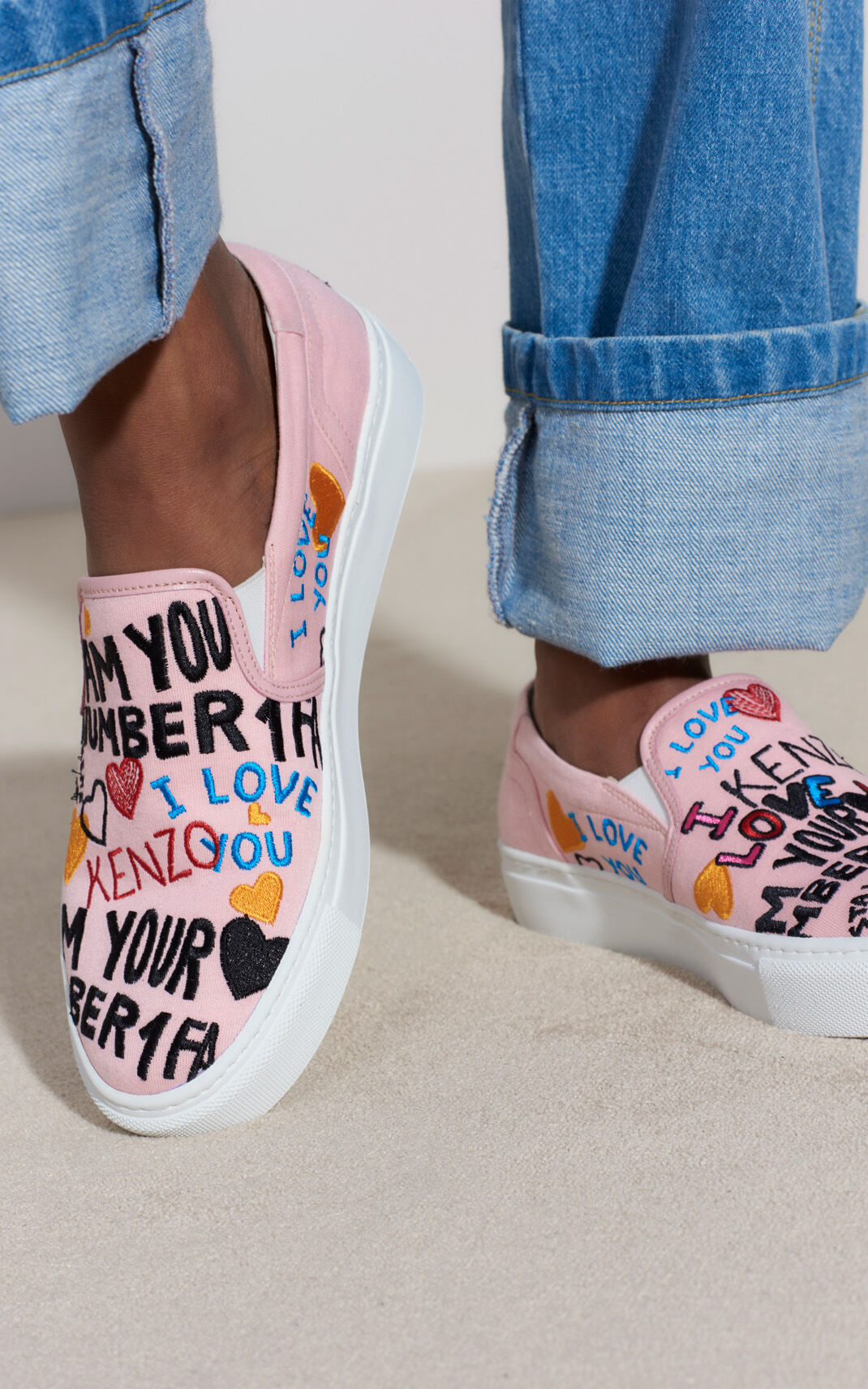 FADED PINK 'I Love You' K-Skate sneaker for women KENZO