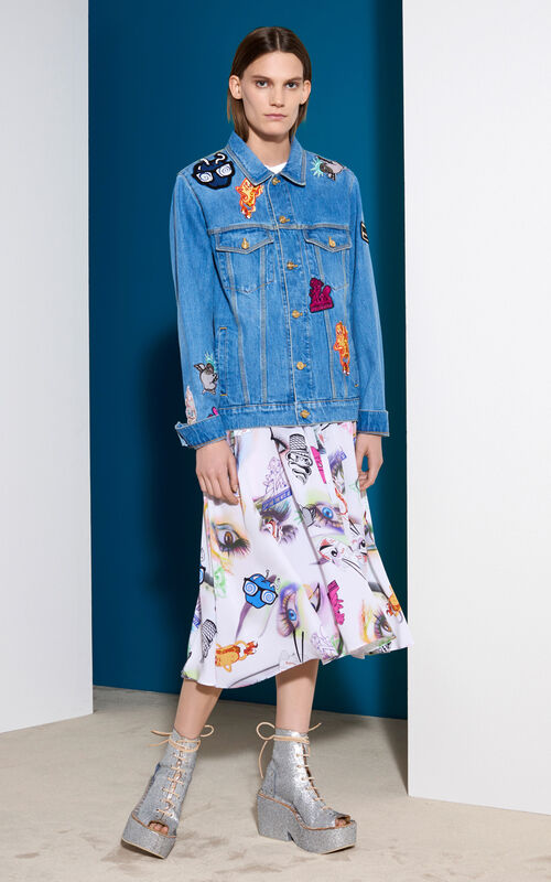 Badges Denim Jacket, BLUE, KENZO