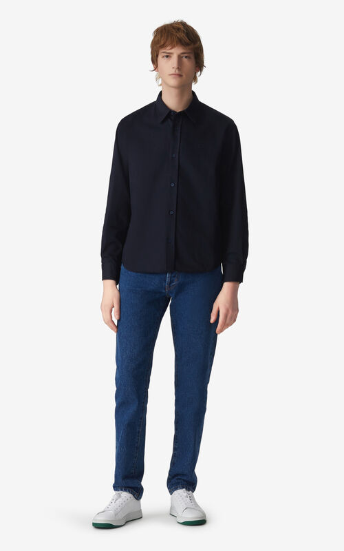 NAVY BLUE Tiger Crest casual shirt for men KENZO