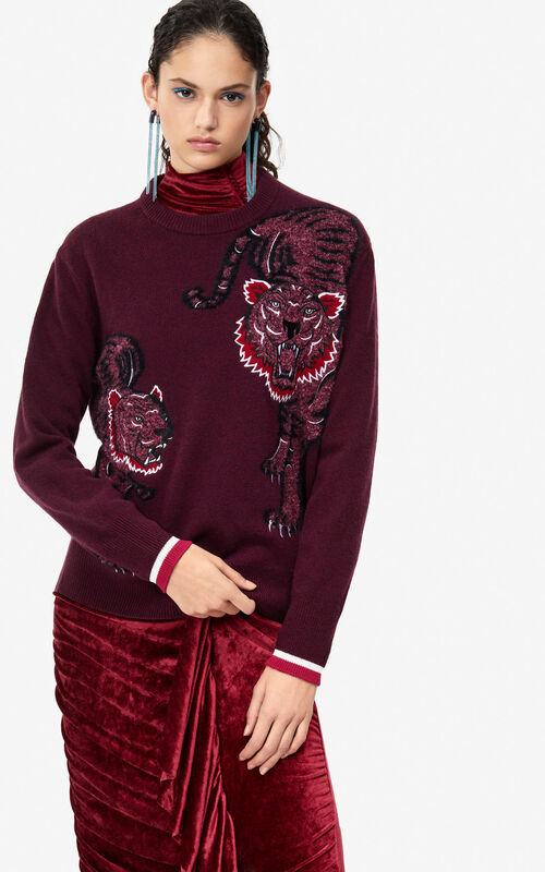 BORDEAUX 'Double Tiger' jumper 'Holiday Capsule' for women KENZO