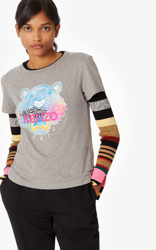 DOVE GREY 'Rainbow' Tiger t-shirt for women KENZO