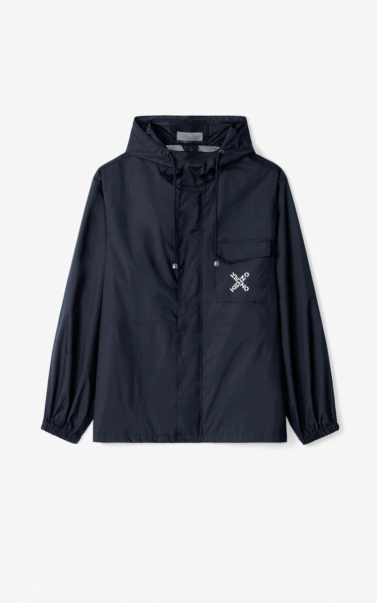 BLACK KENZO Sport 'Big X' wind stopper for men