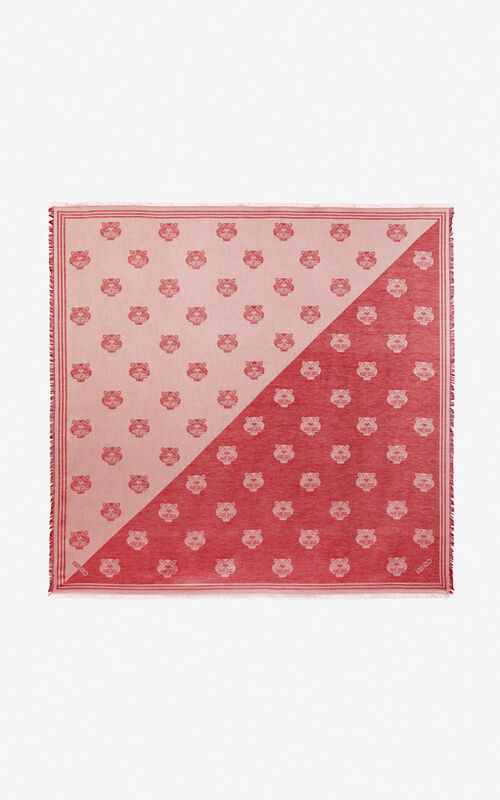 MEDIUM RED Large two-tone Tiger scarf for unisex KENZO