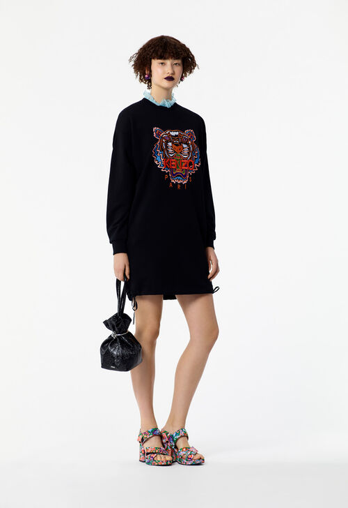 BLACK Tiger sweatshirt dress for women KENZO
