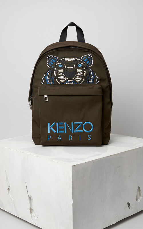 Large Tiger Canvas Backpack, DARK KHAKI, KENZO