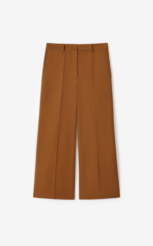 DARK CAMEL Cropped trousers for unisex KENZO