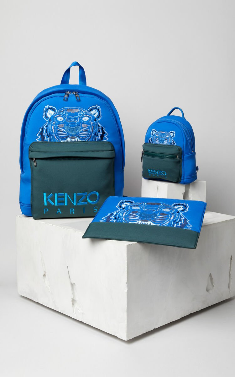 FRENCH BLUE Bicolour Tiger neoprene clutch for unisex KENZO